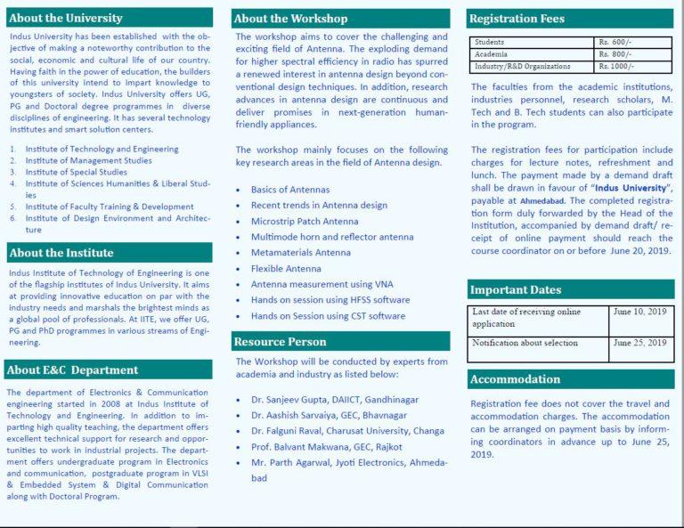 STTP on Recent Trends in Antenna Design - Indus University